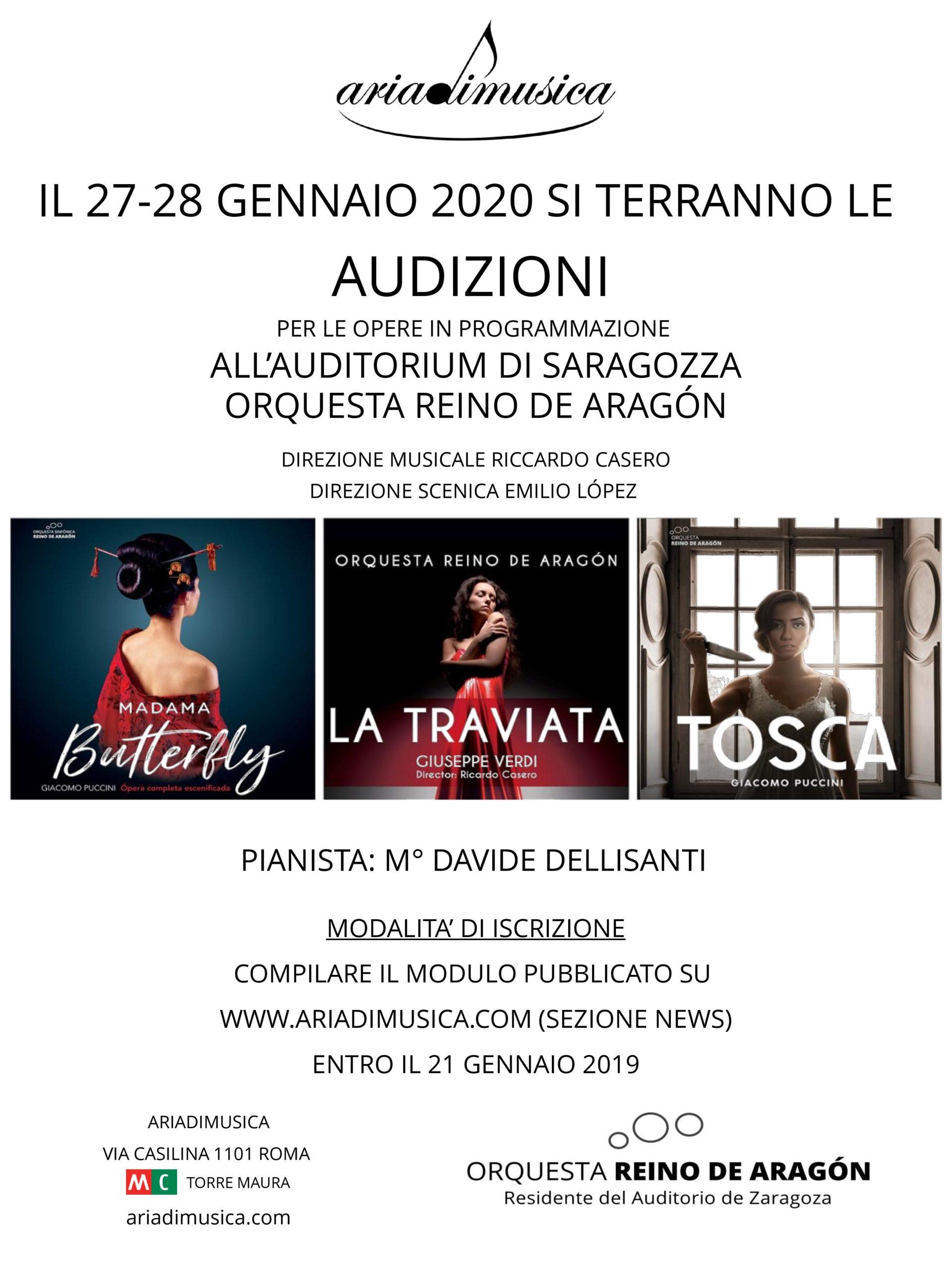 Audizioni per le opere in programmazione all'Auditorium di Saragozza Orquesta Reino de Aragón